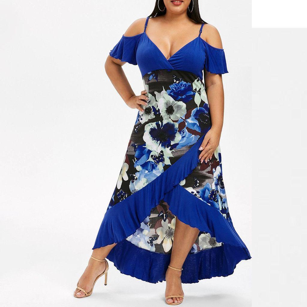 Womens Dress Vestidos Floral V-Neck Camis Short Sleeve