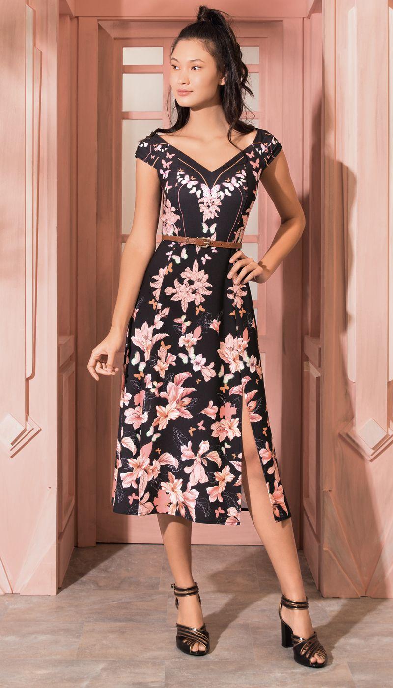 vestido midi caminho das borboletas preto | antix | vestidos