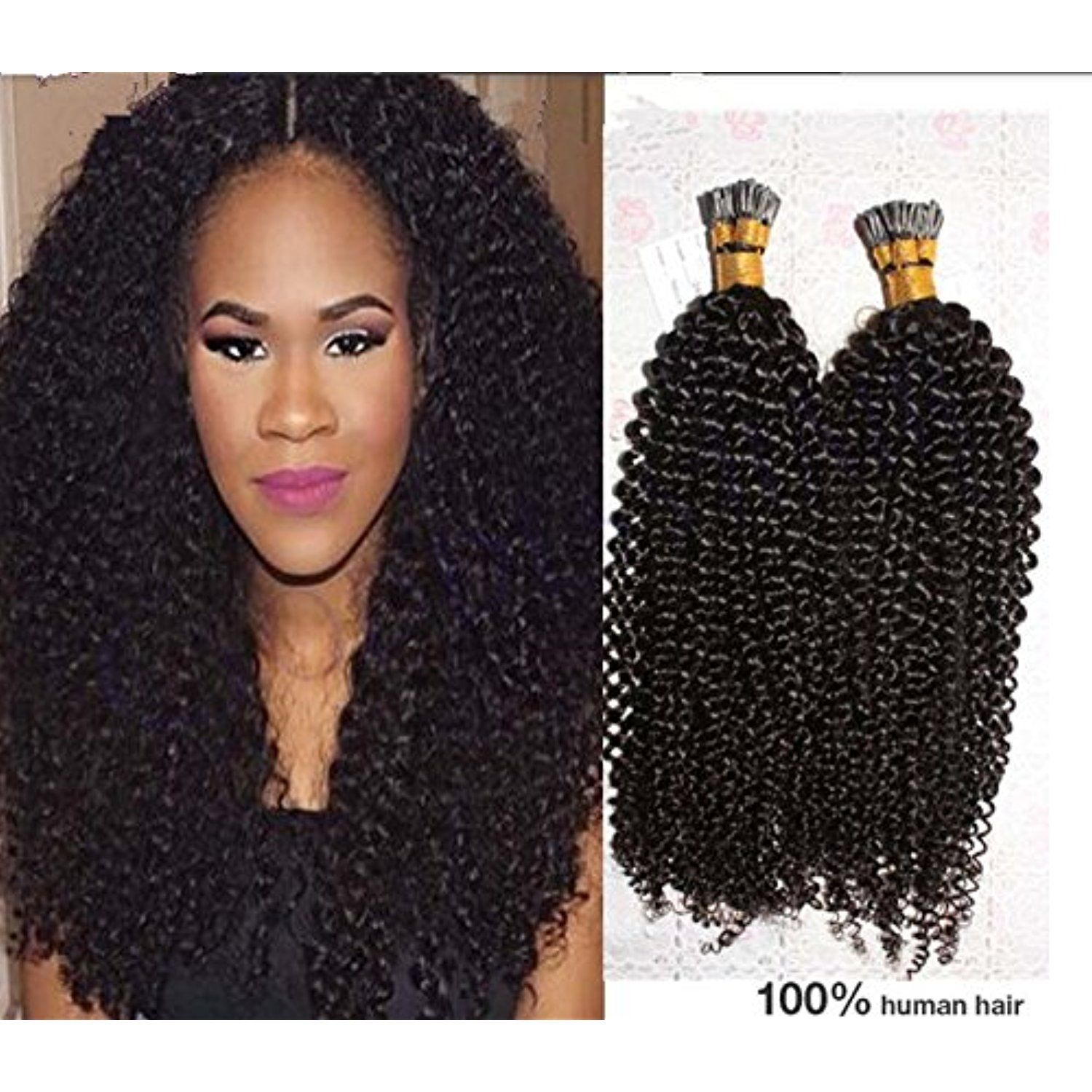 Luffy 100spack 1gs Kinky Curly I Tip Hair Extensions 8a Virgin