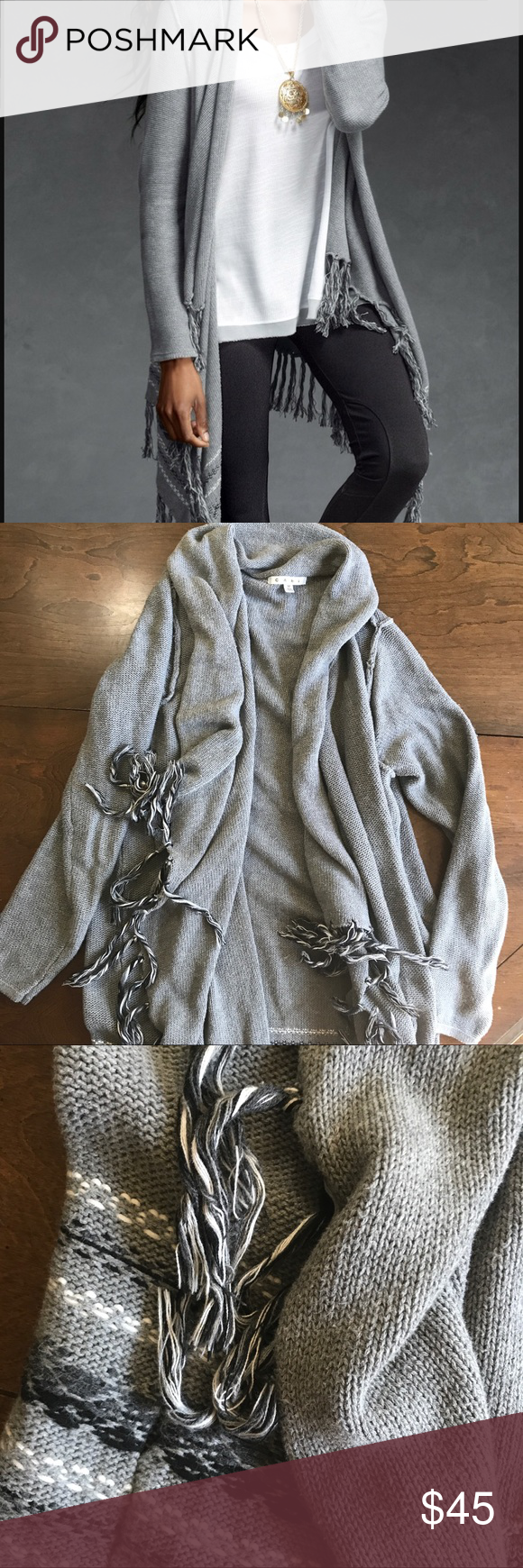 CAbi grey wrap sweater with tassels Cozy CAbi wrap sweater ...