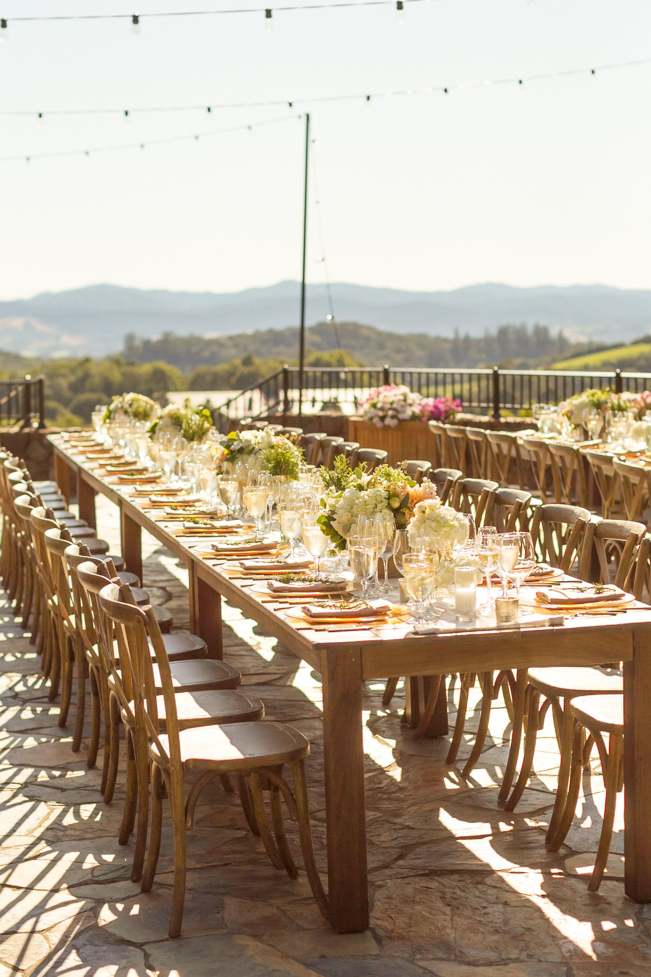 Chalk Hill Estate Winery Sonoma Valley Wedding Reception White Blush Green Centerpieces On Rustic Rustic Elegant Wedding Sonoma Wedding Wine Country Wedding