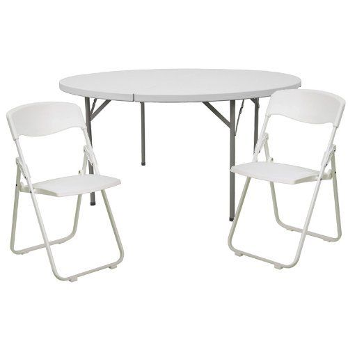 60 Round Banquet Table 8 White Plastic Folding Chair Set By Flash Furniture 199 99 Multi Purpose Table Set Us Plastic Folding Chairs Home Kitchens Table