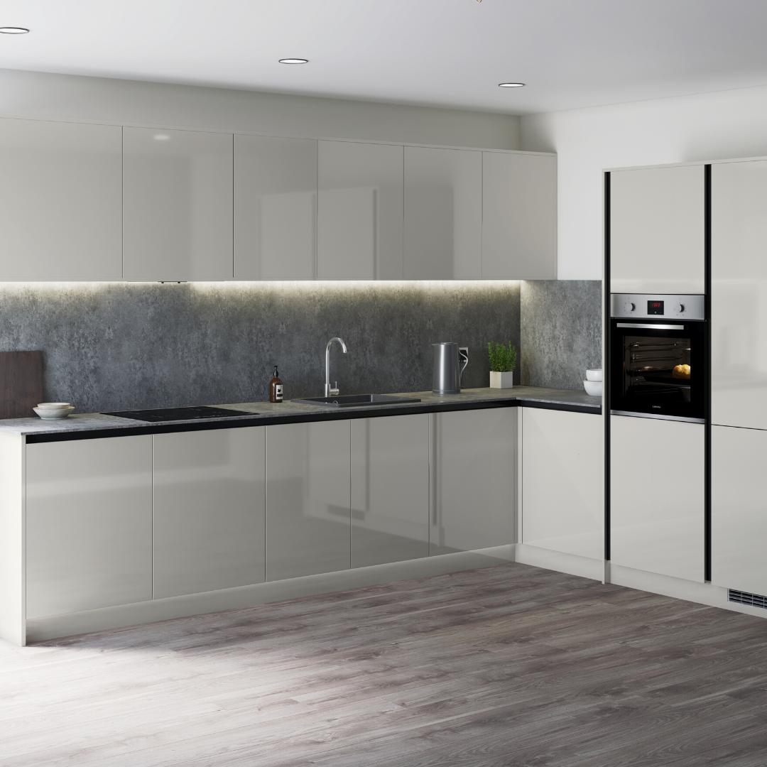 Greenwich Gloss Grey Handleless Kitchen Handleless Kitchen Kitchen Interior Contemporary Kitchen Design
