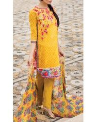 Yellow Embroidered Cotton Lawn Dress