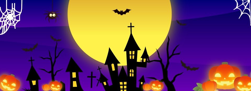 Photo of Halloween purple cartoon background simple cartoon hand painted halloween purple background material