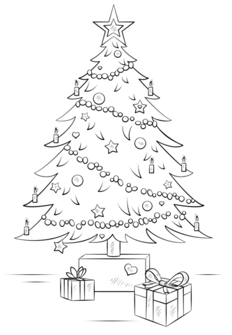 Christmas Tree With Gift Boxes Coloring Page Free Printable Coloring Pages Christmas Tree Drawing Christmas Drawing Christmas Tree Art