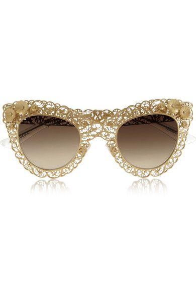 9d825625bb11 DOLCE   GABBANA - Cat eye filigree gold-tone sunglasses  591.72 ...