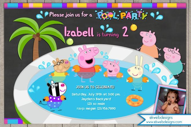 Peppa pig pool party birthday invitation with or without for Peppa pig en piscina