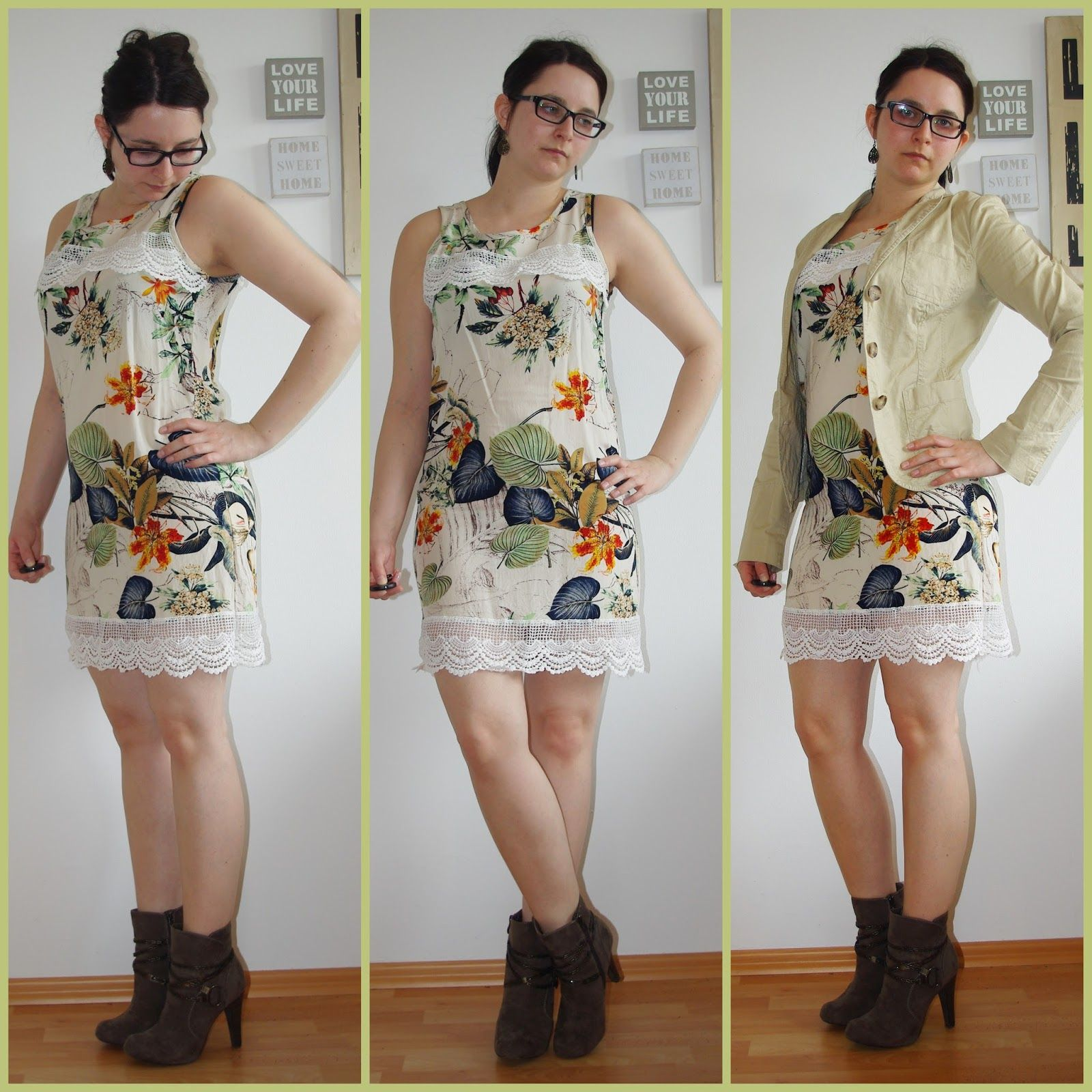 [Fashion] Spring Floral Lace Dress & Beige Blazer