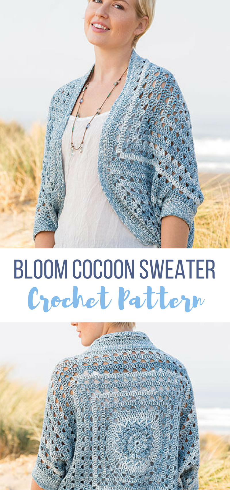 this blue is so pretty. easy crochet cocoon sweater pattern to ...