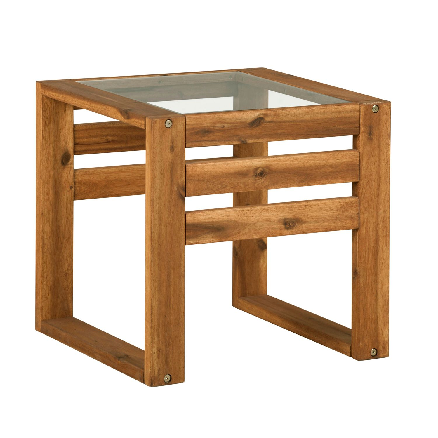 Hudson Wood Patio End Table With Glass Top Wood End Tables End Tables Glass Side Tables