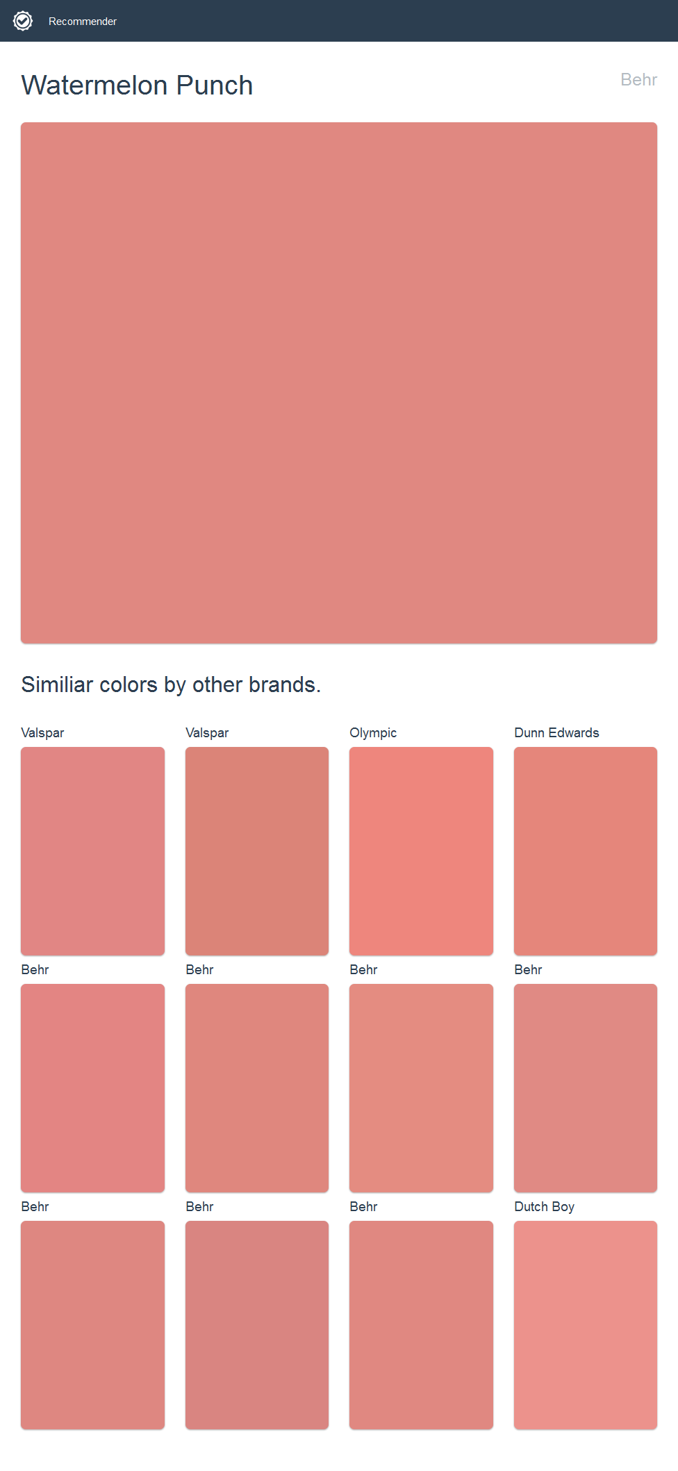 Watermelon Punch, Behr. Click the image to see similiar colors by ...