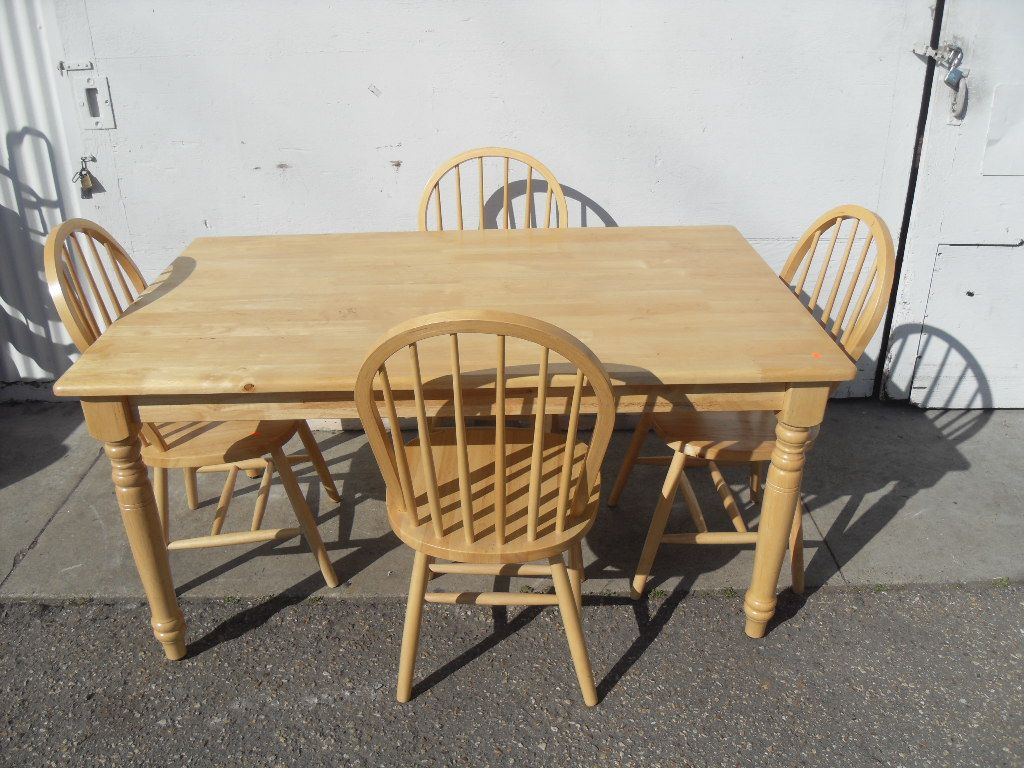 Farmhouse Dining Set Country Style Table W 4 Matching Chairs Blonde Wood