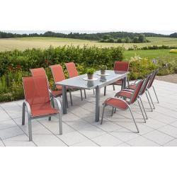 Photo of 9 pièces Ensemble Amalfi, 8 fauteuils empilables Amalfi, 1 table à rallonge, terre cuite Merxx
