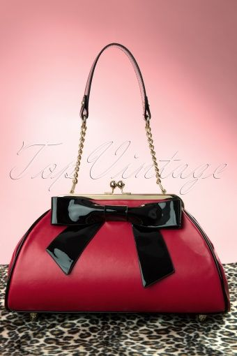 Pinup Couture - 50s Bow Handbag in Red and Black