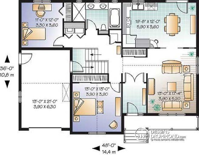 Découvrez Le Plan W3261 (Pamlico) Qui Vous Plaîra Pour Ses 2 Chambres Et  Son Style Traditionnelle.