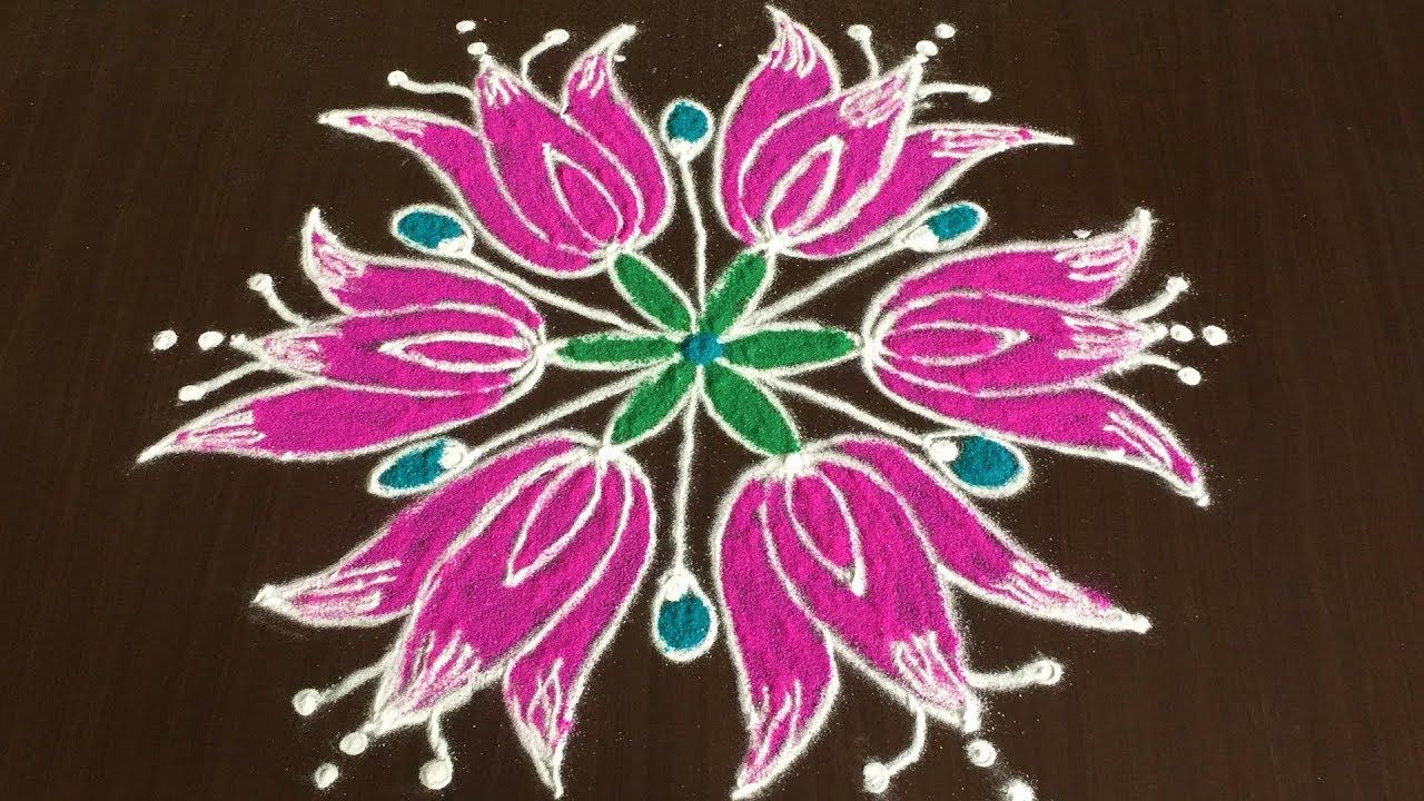 Beautiful Flower Rangoli Designs With 7 4 Dots How To Make Lotus