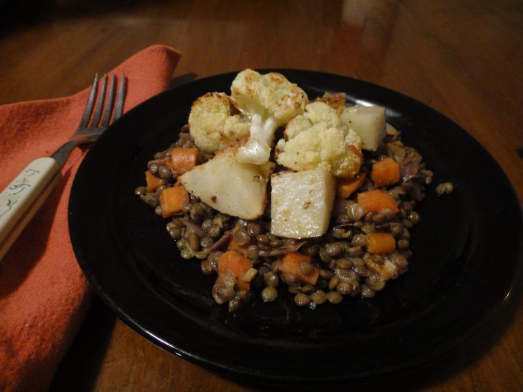 Dijon lentils with roasted potatoes and cauliflower
