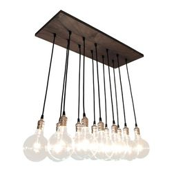 Urban Chandy - Chic Urban Chandelier - This handmade chandelier makes artistic use of simple industrial-style materials for a unique, urban-...