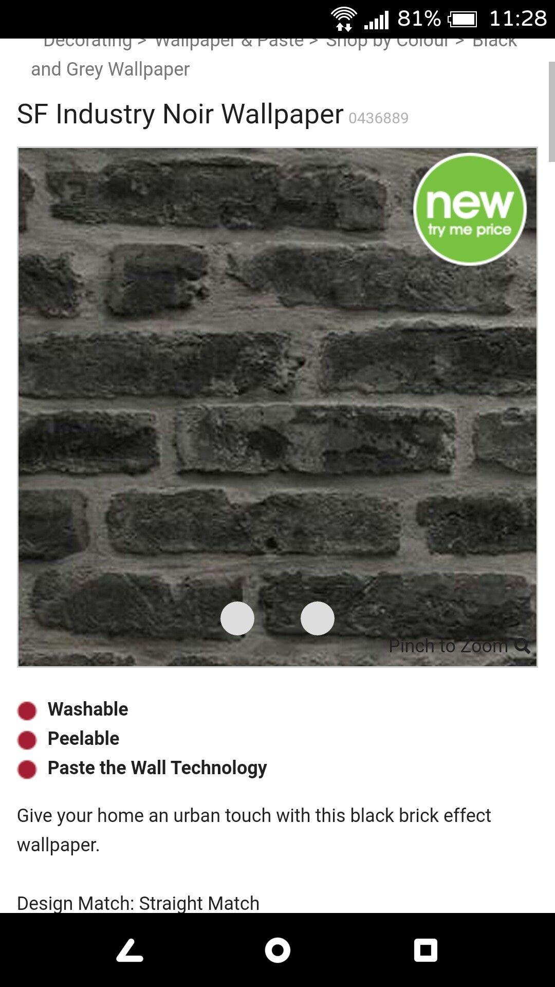 Fake brick wallpaper Brick effect wallpaper, Black and