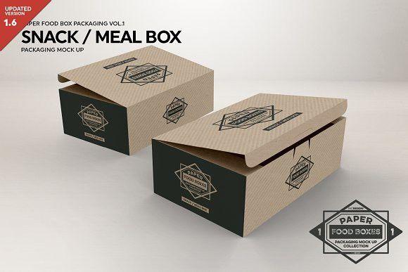 Download Meal Snack Food Box Packaging Mockup Pengeditan Foto
