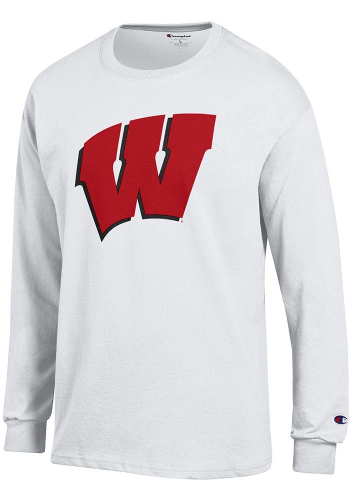 2ad07c5b Champion Wisconsin Badgers White Primary Long Sleeve T Shirt, White, 100%  COTTON, Size M