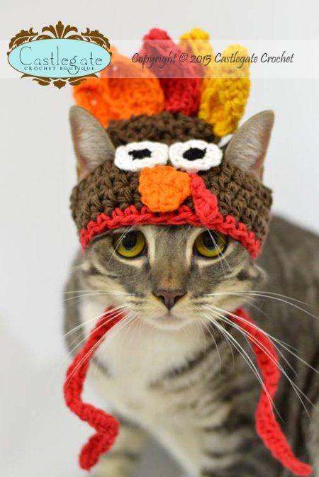 070ad52672f CROCHET PATTERN - Thanksgiving Turkey Hat for Pets