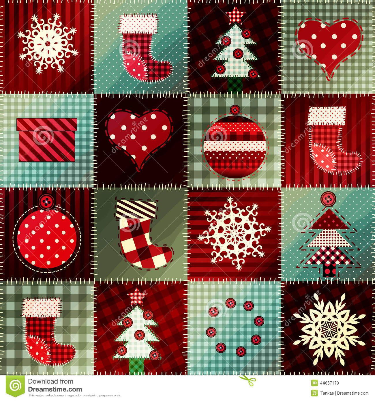 Cozy Christmas Pattern Patchwork Seamless Background