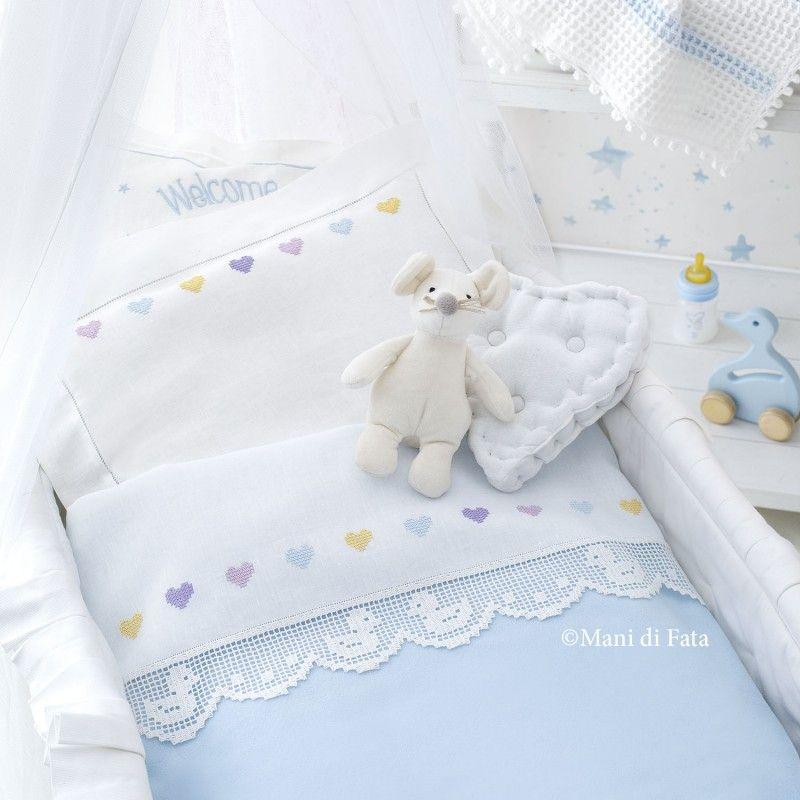Disegno per fare il lenzuolino culla a punto croce bebek for Ricami neonati punto croce