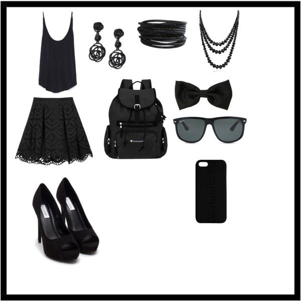 Black one by ladylibertybmx on Polyvore featuring polyvore, fashion, style, Zara, Alice + Olivia, Nly Shoes, Sherpani, Oscar de la Renta, Bling Jewelry, Pieces, Ray-Ban and Maison Takuya