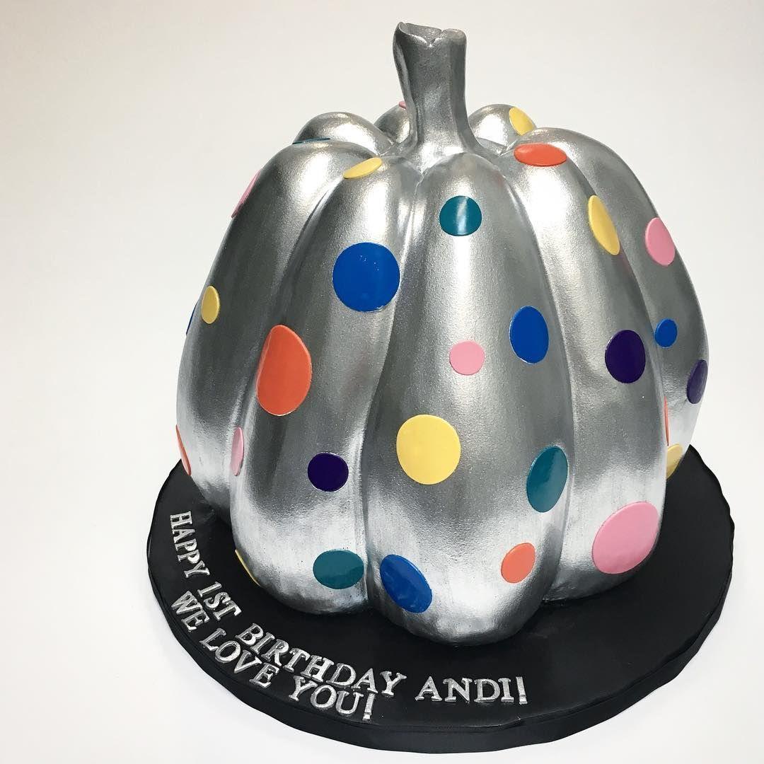 Happy 1st birthday Andi A Yayoi Kusama inspired pumpkin cake to