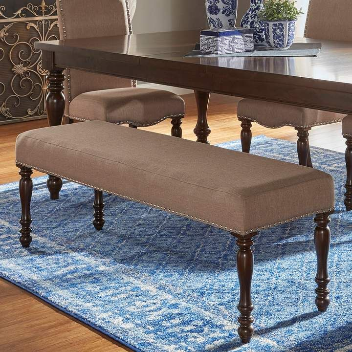 Fabulous Homevance Ingram Nailhead Padded Dining Bench In 2019 Ibusinesslaw Wood Chair Design Ideas Ibusinesslaworg