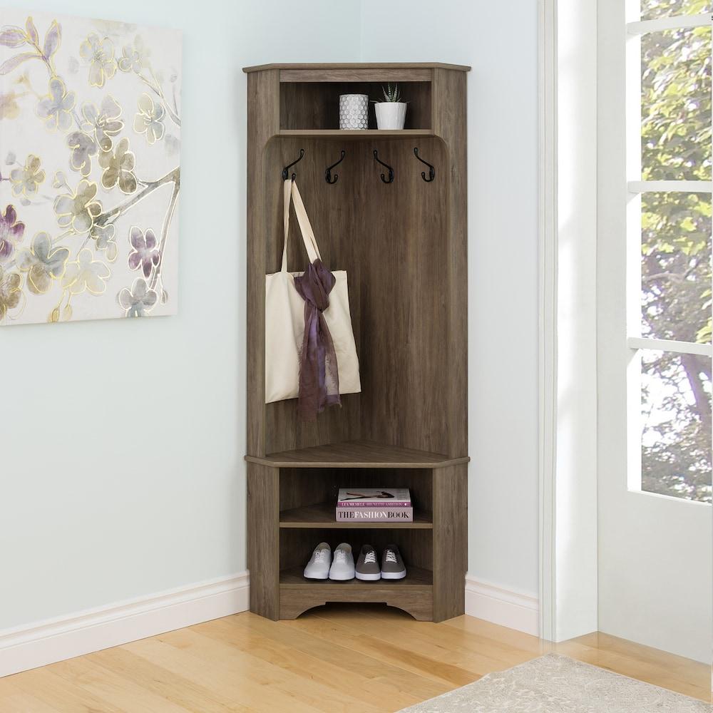 Prepac Entryway Hall Tree Storage Cabinet Grey