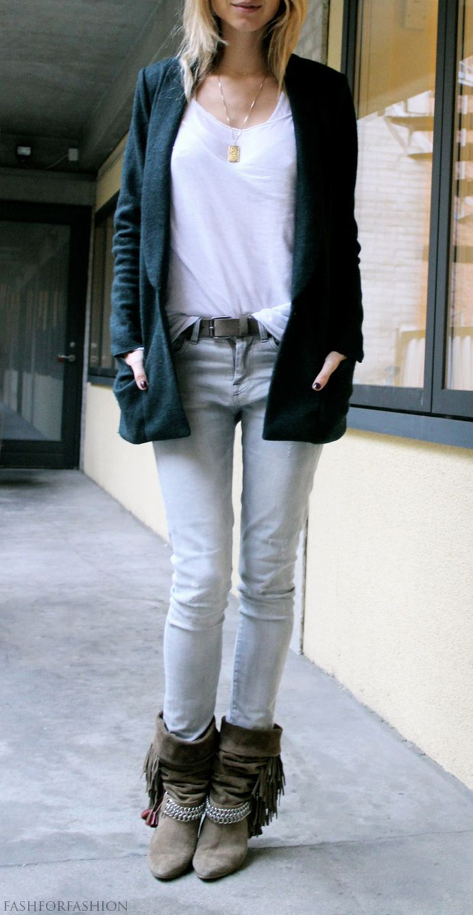 faded jeans. short boot. dark jacket (jeans and t-shirt)