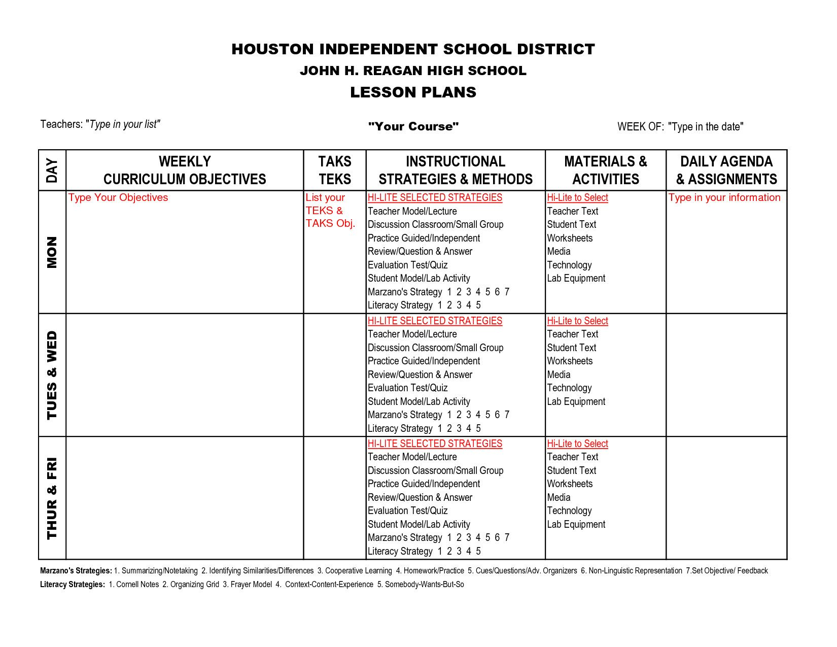 Marzano Lesson Plan Template New Marzano Planning Lesson Pinterest High School Lesson Plans Lesson Plans Template High School High School Science Lesson Plans