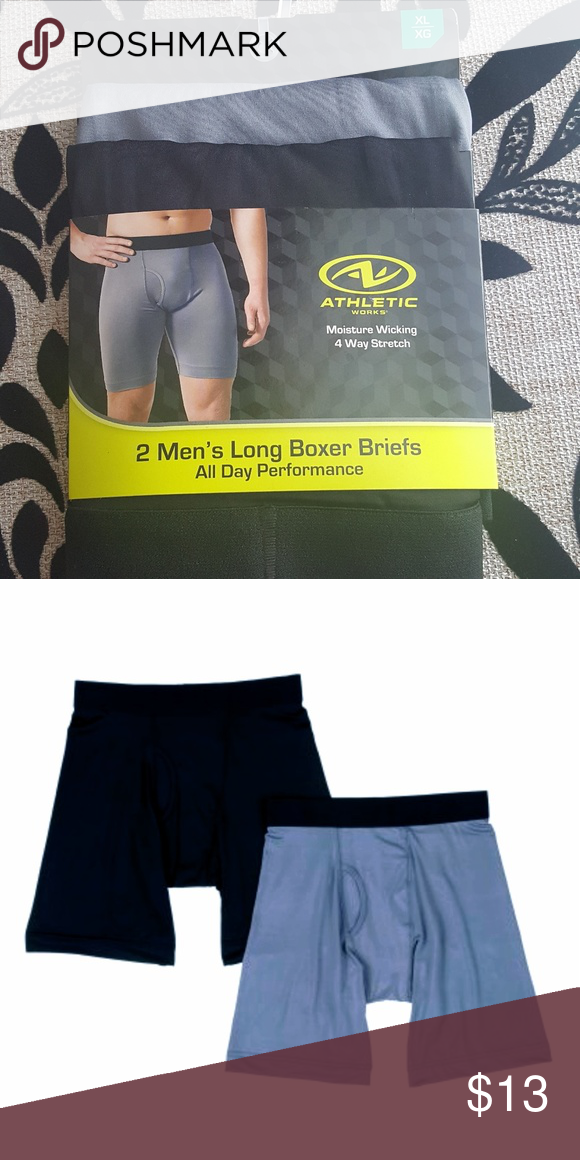 45cfb500b17733 Athletic work boxers Mens athletic boxers Sz XL 1 grey 1 black Moisture  wicking 4 way stretch Athletic Works Underwear & Socks Boxer Briefs