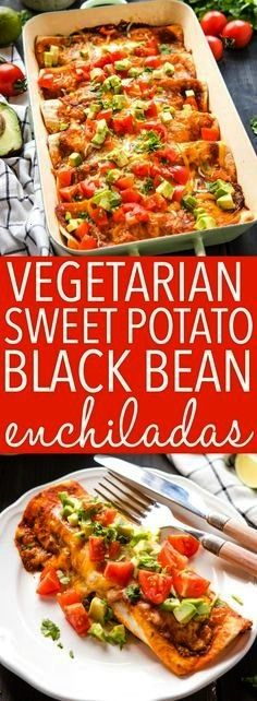 Vegetarian Sweet Potato Black Bean Enchiladas are a delicious and healthy vegetarian Mexicaninspired meal idea thats packed with veggies and protein  and theyre kidfriend...