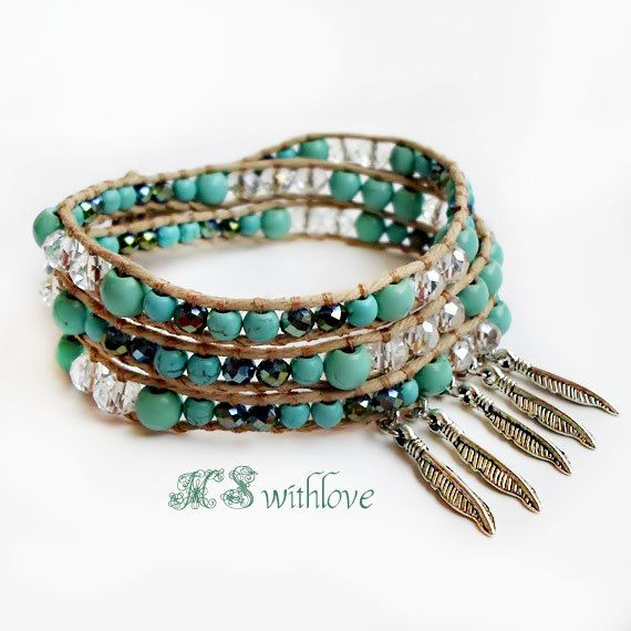 Bohemian Turquoise Wrap Bracelet, Feather Bracelet Blue TurquoiseBlue Sea Bracelet, Boho Turquoise Beaded Bracelet by MSwithlove on Etsy