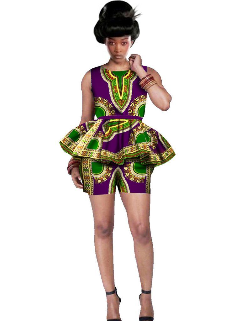 2aa18a2d364 Women African Clothing 6XL Women African Outfits 2 Piece Sets African Print  Shorts Set Design Brand Dashikis Print BRW WY542