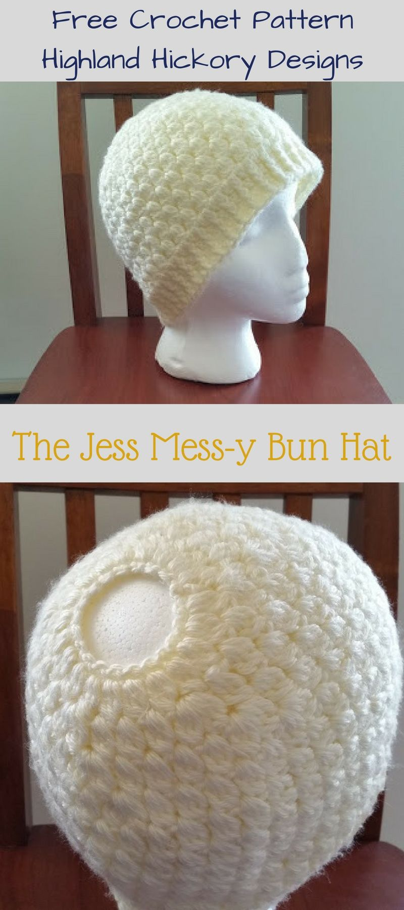 Jess Mess-y Bun Hat - Free Crochet Pattern   Gorros y Tejido