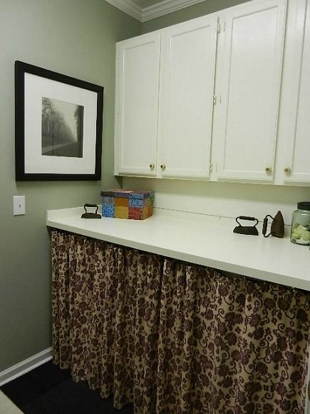How To Hide Washer And Dryer In Bathroom. Like The Idea Of Putting A Counter Over Teh Washer And Dryer And Skirting It Kit Fea Hidden13 435