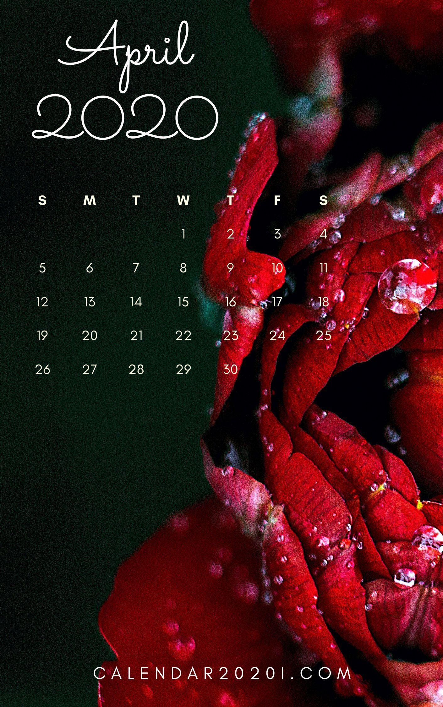 April 2020 Floral Calendar Printable Calendar 2020 in 2020