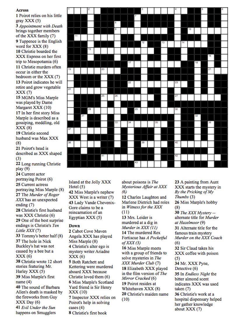 Agatha Christie Crossword Puzzle Millie Mack S Blog Agatha Christie Agatha Christie Books Agatha