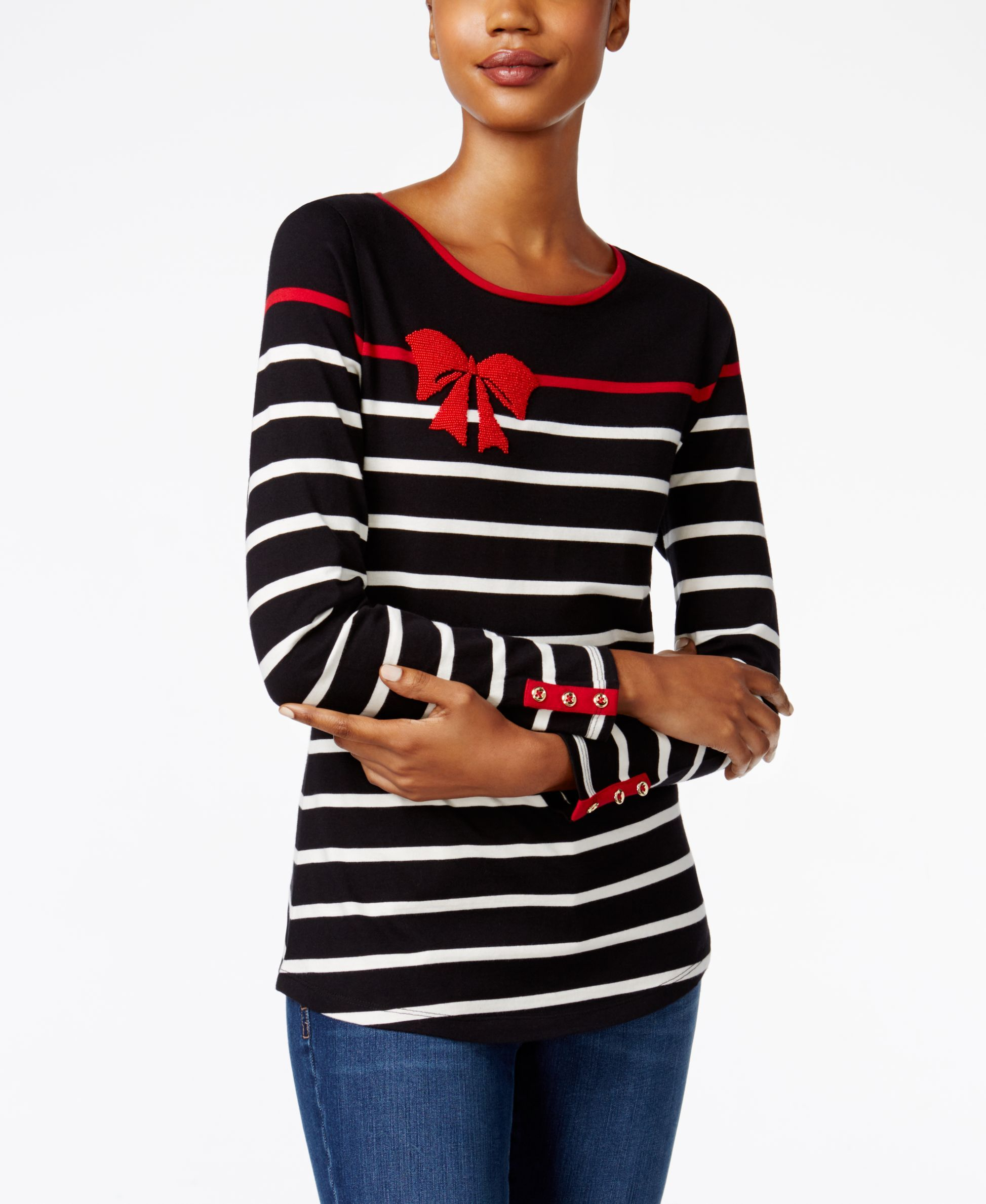 Charter Club Striped Bow-Print Top, Only at Macy's