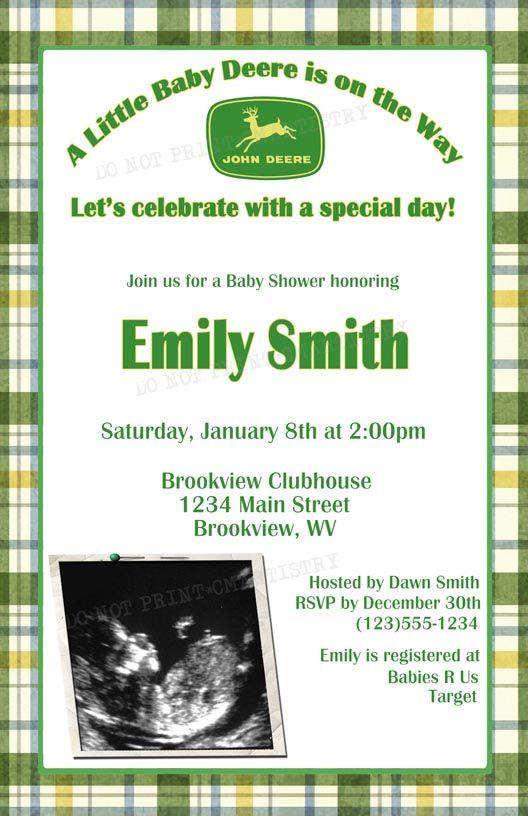 Diy Printable John Deere Baby Shower Ultrasound Invitations 12 00
