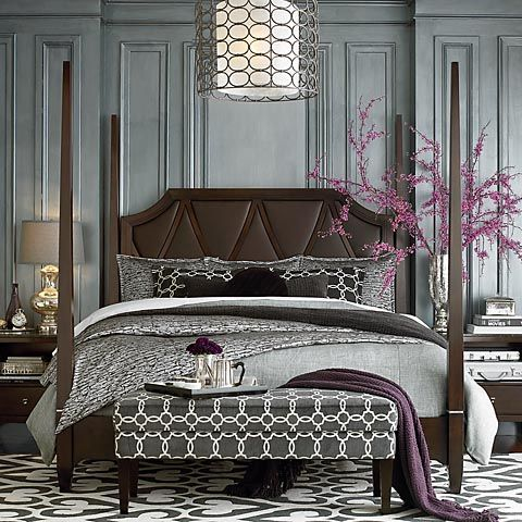 Gray And Purple Master Bedroom Ideas gorgeous bedroom 4 poster bed, geometric fabric bench. silver