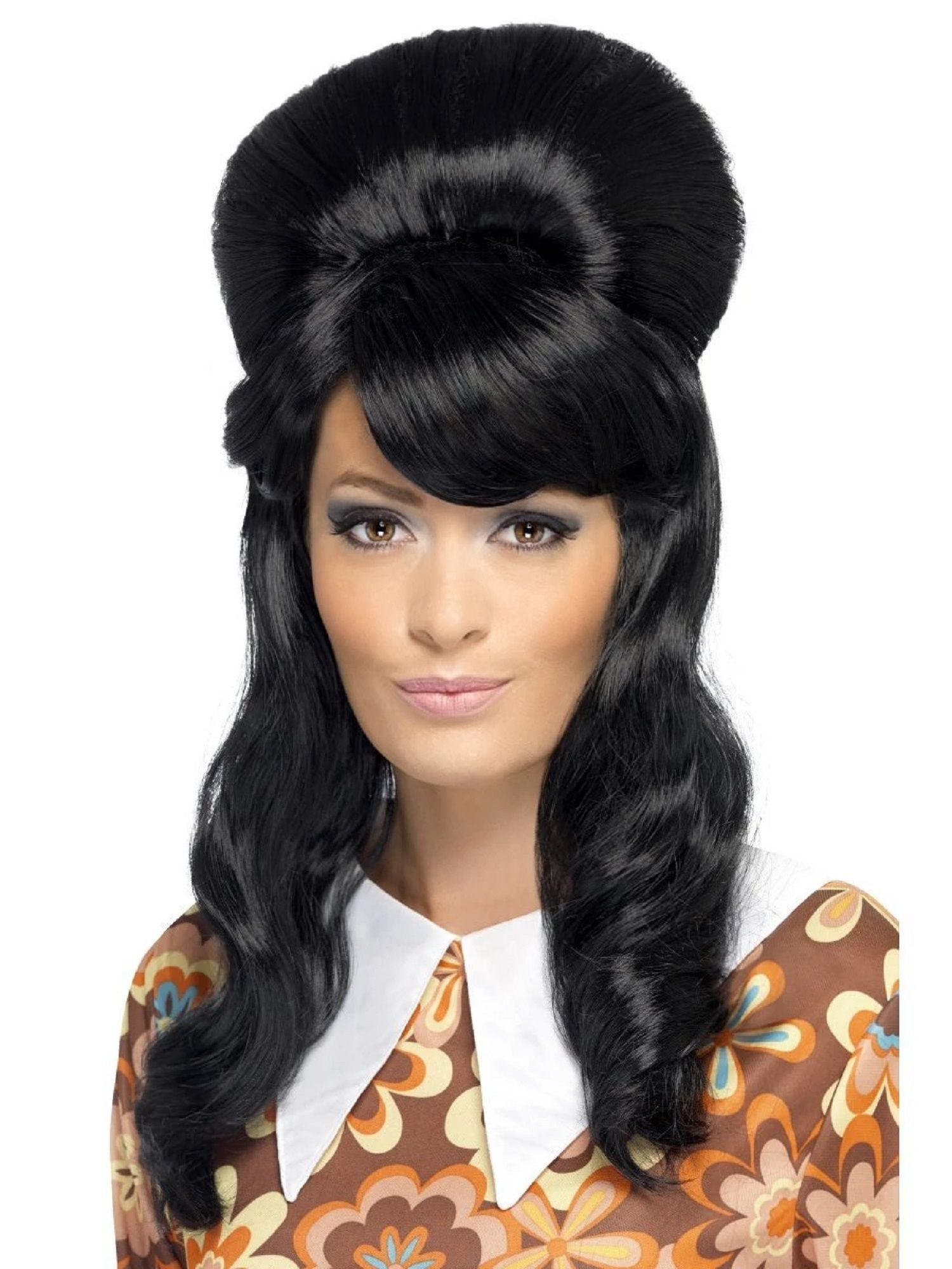60s Mod Wig Ladies Short Groovy Black Fancy Dress Costume Accessory