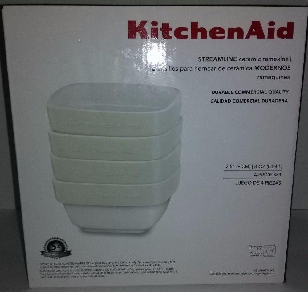 Kitchenaid Ceramic 4 Piece Stacking Ramekin Bakeware Set Almond Cream Bakeware Set Kitchen Aid Almond Cream