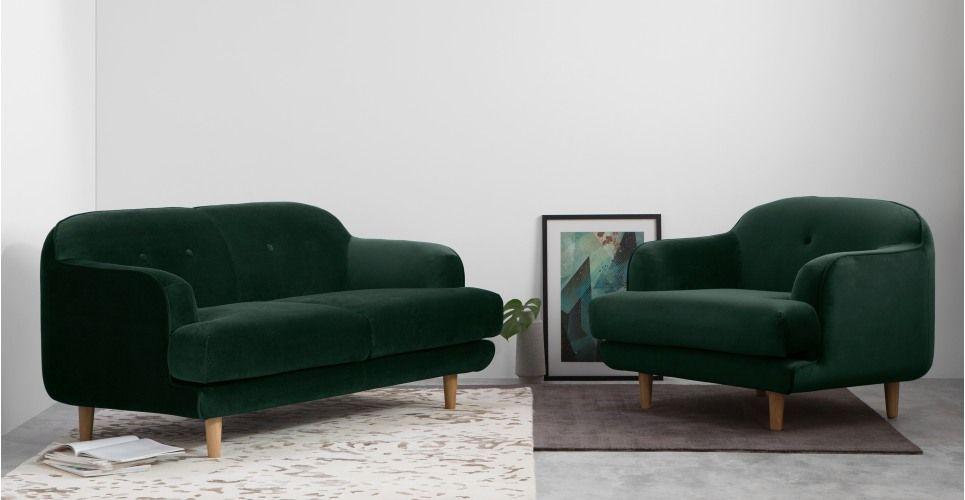 meilleur site web 064b1 518fe Gracie, canapé 2 places, velours vert sapin | Canapé ...