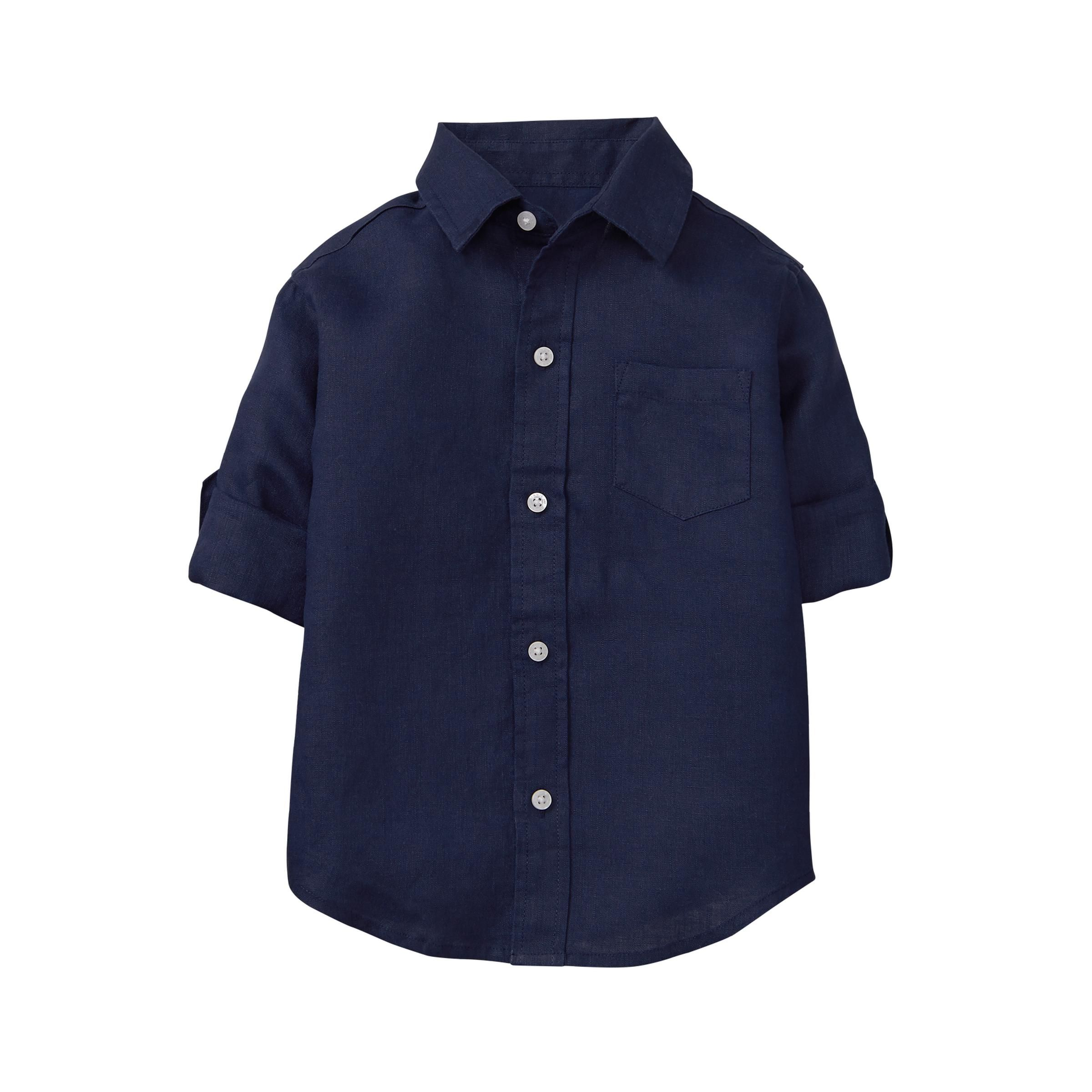 Boy Navy Roll Cuff Linen Shirt By Janie And Jack